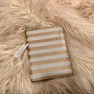 Gold and white striped passport holder!
